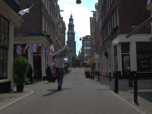 Tweede Egelantiersdwarsstraat, little street in the Jordaan in amsterdam, The Netherlands