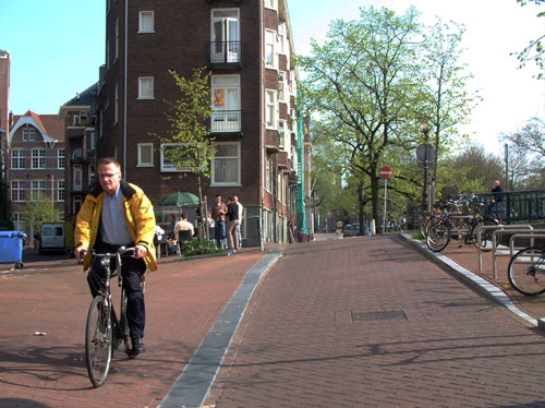 Lijnbaansgracht canal during Spring season when Amsterdam is city of bikes