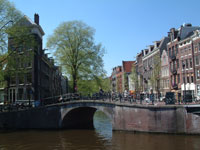 canals Prinsengracht and Looiersgracht in Amsterdam, The Netherlands