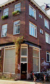 Building at the corner of the Gieterstraat and the Tichelstraat, streets in the Jordaan in Amsterdam