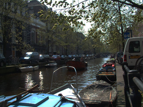 Lauriergracht,canal in amsterdam, The Netherlands