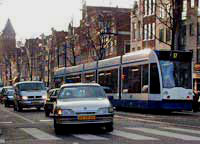Tram at Rozengracht in Amsterdam